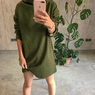 Зеленое платье туника, хаки, оверсайз, хомут, хлопок, плотный трикотаж, теплое платье, водолазка