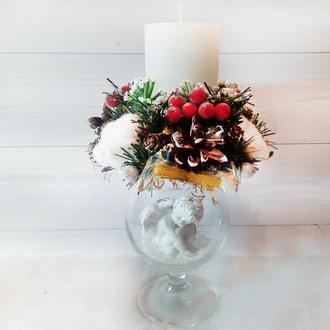 Новогодний подсвечник (свеча) на бокале «Рождественский ангел»