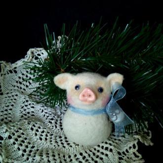 Поросенок свинка валяная игрушка символ года войлочная игрушка купить елочные игрушки