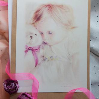 Открытка, листівка, нежная, пастельная, девочка с мишкой