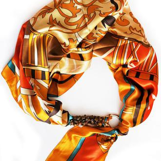 """""""Золото Египта"""" атласный шарф, атласный платок, шарф-ожерелье, шарф-чокер, шейный платок"""