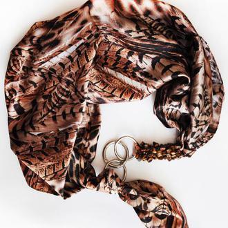 """""""Перо"""" атласный шарф, атласный платок, шарф-колье, шарф-чокер, шейный платок"""
