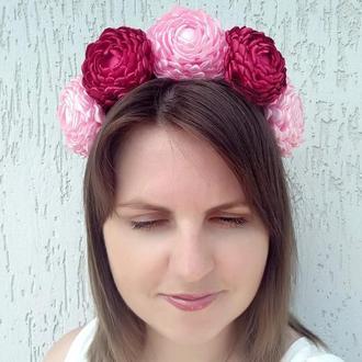 Цветочный венок украшение Ободок на голову бордовый с розовым Объемный обруч для волос девушке