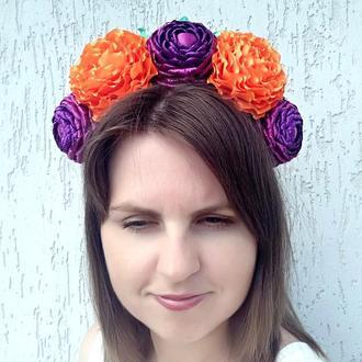Объемный венок на голову Цветочный ободок  девушке Обруч для волос оранжевый с фиолетовым осенний