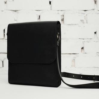 Мужская кожаная сумка на плечо, черного цвета