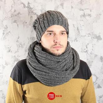 Мужской вязаный снуд и шапка