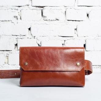 Женская кожаная поясная сумка, рыжего цвета