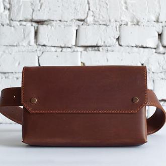Женская кожаная сумка на пояс, коньячного цвета