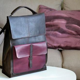 Рюкзак трансформер из натуральной кожи Crazy horse. Микс коричневый\бордо