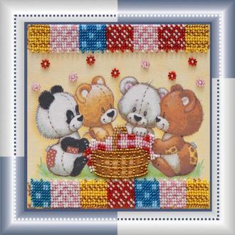 Набор для вышивания бисером Абрис 15*15 см AM-049 Мишки и корзинка