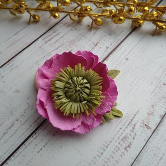 Розовый анемон на резинке, Цветы на резинке, цветы для волос