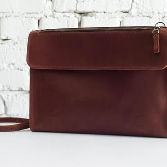 Кожаная сумка Folder рыжего цвета