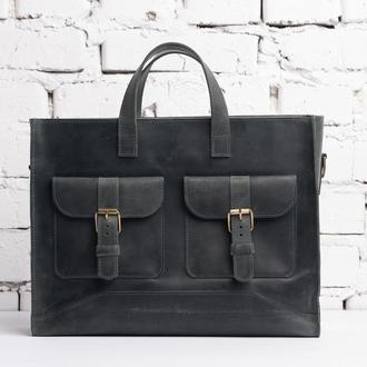 Женская кожаная сумка Easy-Busy, серого цвета