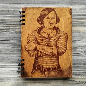 """Блокнот """"Гоголь"""" в деревянной обложке"""