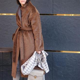 Женское зимнее пальто из шерсти и мохера длинное, утепленное женское пальто с ворсом