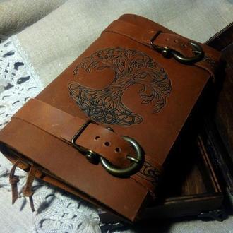 блокнот в кожаной обложке, блокнот с деревом, необычный блокнот, кельтский блокнот, блокнот подарок