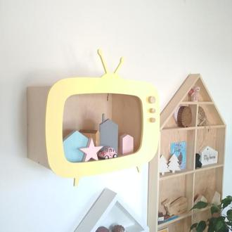 Полочка телевизор для детской комнаты полка для игрушек