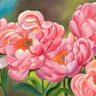 """""""Піони у променях сонця"""", живопис маслом, квіти.Картина 60х40 см"""