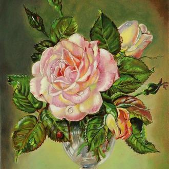"""Натюрморт """"Роза в вазе"""". 30х40 см. Живопись, цветы. Копия картины Сессила Кеннеди"""
