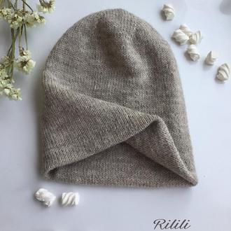 Двойная вязаная зимняя шапка