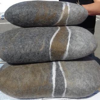 Подушки валяные Пуф войлочный Интерьерный войлок Подушка на диван Подушка на стул Подушки камни
