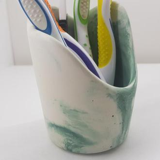 подставка-стакан бетонный для зубных щеток - белый с зеленым