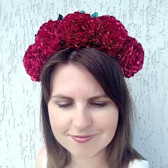 Объемный цветочный венок на голову Ободок с роз под вышиванку Бордовый обруч Украшение для волос