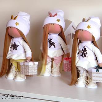 Интерьерная кукла. Кукла трикотажная. Кукла из ткани. Кукла тыквоголовка.