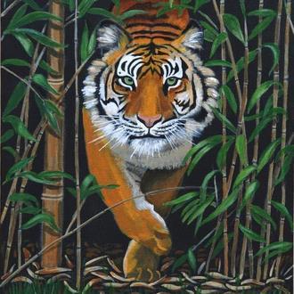 Тигр на охоте.  Живопись акрилом 40х50 см.