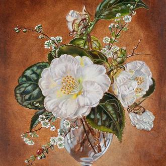 """Квітковий натюрморт """"Білі квіти у вазі"""", картина маслом 30х40 див. Копія картини Сессила Кеннеді"""