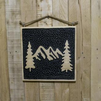 """Декоративное панно из массива дерева """"Горы"""""""