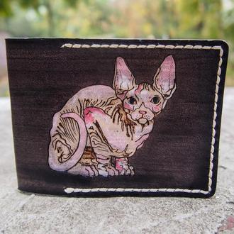 Кожаная обложка Лысый кот