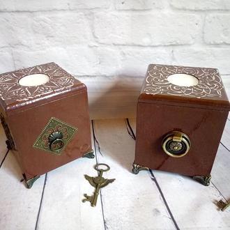 Набор подсвечников Подсвечники для свечей таблеток Старинный винтажный коричневый подсвечник