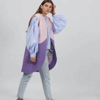 Жилетка из шерсти лавандового цвета by GRINKO coat