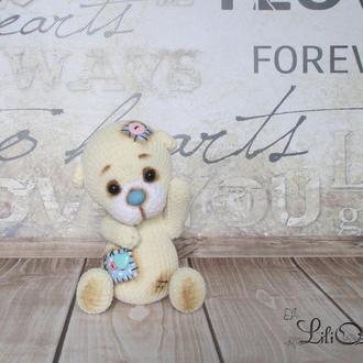 кремовый мишка вязаный крючком подарок для ребенка игрушка амигуруми подарок на Николая