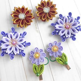 Цветочные украшения для волос, 3 пары заколок канзаши Подарок для девочки на день рождение