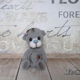 серый мишка вязаный крючком подарок для ребенка игрушка амигуруми подарок на Николая