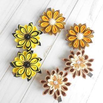 3 пары желтых заколок девочке Цветочные украшения канзаши для волос Подарок на день рождение
