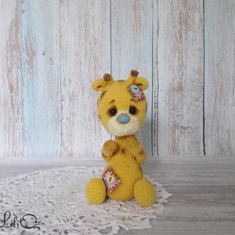Жирафик мягкая игрушка вязаная крючком подарок для ребенка