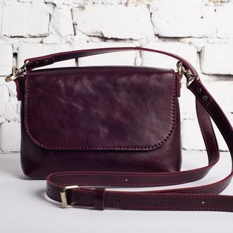 Женская сумка через плечо с глянцевой кожи