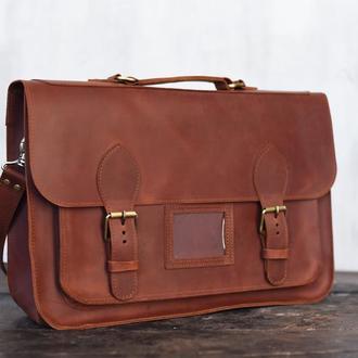 Мужская кожаная сумка-портфель рыжего цвета