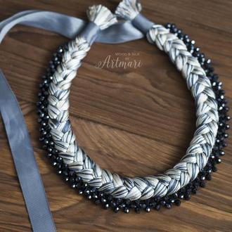 Колье-коса шелковое Серый меланж с хрустальной сеточкой