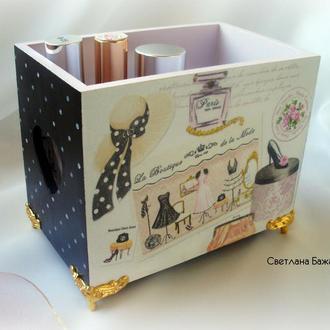 Подставка, короб для косметики, стильный короб, хранильница для косметики