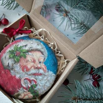 Новогодняя игрушка 9 см с печатно-расписным пряником Санта Клаус