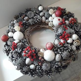 Венок новогодний 45см. Рождественский венок. Вінок