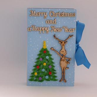 Подарок на Новый год Рождество Открытка Коробка в виде книги Елка Олень Квиллинг