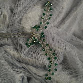 Зеленые шпильки для волос 2 штуки