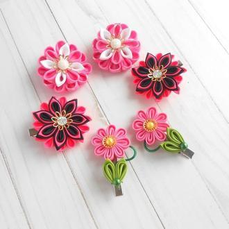 Розовые цветочные украшения для волос Заколки канзаши 3 пары Подарок девочке на Новый год
