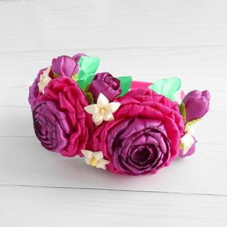 Цветочный венок на голову Объемный ободок для волос Фиолетовый обруч с розами Украшение на голову