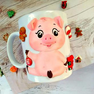 Чашка с декором Свинка